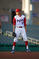Stockton Ports starting pitcher Zack Erwin (33) looks to his catcher for the sign during a California League game against the Rancho Cucamonga Quakes at Banner Island Ballpark on May 16, 2018 in Stockton, California. Rancho Cucamonga defeated Stockton 6-3. (Zachary Lucy/Four Seam Images)