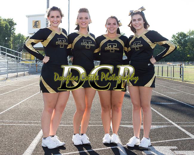 September 2, 2016- Tuscola, IL- The 2016 Tuscola Warrior Football Cheerleader Seniors. From left are Peyton Kresin, Miah Holmes, Baylee Tackitt, and Sophia Christy. [Photo: Douglas Cottle]