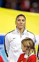 Hope Solo during introductions. USWNT played played a friendly against Ireland at JELD-WEN Field in Portland, Oregon on November 28, 2012.