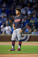 Cleveland Indians Francisco Lindor (12) in the first inning during Game 5 of the Major League Baseball World Series against the Chicago Cubs on October 30, 2016 at Wrigley Field in Chicago, Illinois.  (Mike Janes/Four Seam Images)