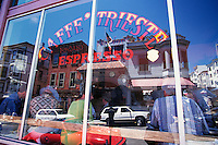 Caffe Trieste; North Beach; San Francisco, CA; Window Gives View Of Patrons Inside And Reflection Of Neighborhood Outsid