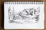 Mount Rainier, charcoal on paper, Journal Art 2007,