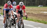 Kasper Asgreen (DEN/Deceuninck - Quick Step) & Mathieu Van der Poel (NED/Alpecin-Fenix) in the race finale<br /> <br /> 105th Ronde van Vlaanderen 2021 (MEN1.UWT)<br /> <br /> 1 day race from Antwerp to Oudenaarde (BEL/264km) <br /> <br /> ©kramon