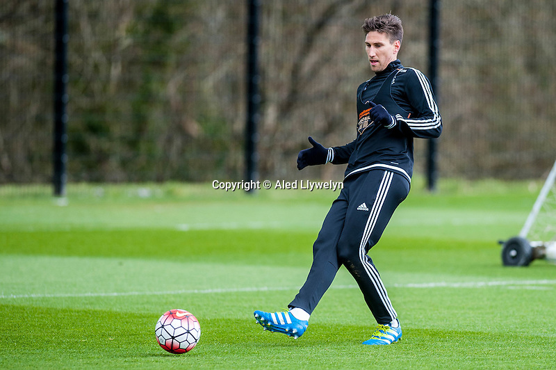 Wednesday  27 April 2016<br /> <br /> Pictured: Federico Fernandez of Swansea City  in action during training <br /> Re: Swansea City Training Session at the Fairwood Ground, Swansea, Wales, UK