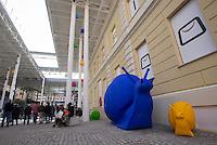 Una veduta del nuovo centro commerciale Happio nel quartiere di San Giovanni, con le lumache giganti in plastica riciclata, parte di un'installazione di Cracking art in occasione della sua inaugurazione, a Roma, 26 marzo 2015.<br /> A view of the new commercial center Happio, with recycled plastic giant snails part of a Cracking Art installation in Rome, 26 March 2015.<br /> UPDATE IMAGES PRESS/Riccardo De Luca