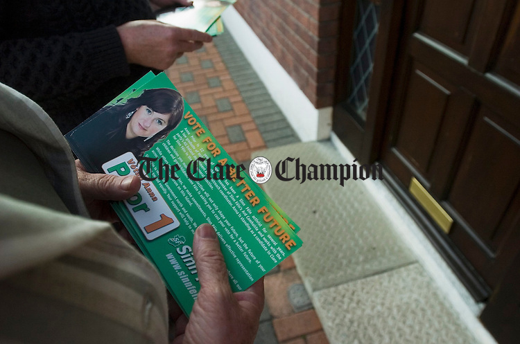 Canvassing the doorsteps of Ennis for Sinn Fein General election candidate Anna Prior. Photograph by John Kelly.