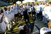 Akron Zips head coach Caleb Porter congratulates his team after defeating Louisville. 2010 NCAA D1 College Cup Championship Final Akron defeated Louisville 1-0 at Harder Stadium on the campus of UCSB in Santa Barbara, California on Sunday December 12, 2010.