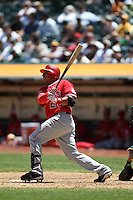 OAKLAND, CA - JUNE 10:  Juan Rivera #20 of the Los Angeles Angels of Anaheim bats against the Oakland Athletics during the game at the Oakland-Alameda County Coliseum on June 10, 2010 in Oakland, California. Photo by Brad Mangin