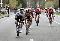 Julian Alaphilippe (FRA/Deceuninck - QuickStep) trying to force a gap after the Oude Kruisberg with Wout van Aert (BEL/Jumbo-Visma), Mathieu Van der Poel (NED/Alpecin-Fenix) & Kasper Asgreen (DEN/Deceuninck - Quick Step) following his move (while dropping the 2 Bahrein riders)<br /> <br /> 105th Ronde van Vlaanderen 2021 (MEN1.UWT)<br /> <br /> 1 day race from Antwerp to Oudenaarde (BEL/264km) <br /> <br /> ©kramon
