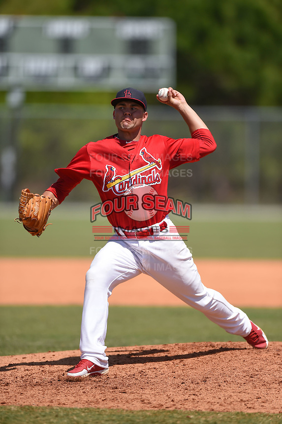 St. Louis Cardinals pitcher Sasha Kuebel (21) during a minor league spring training game against the Miami Marlins on March 31, 2015 at the Roger Dean Complex in Jupiter, Florida.  (Mike Janes/Four Seam Images)