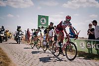 Nils Politt (DEU/Katusha-Alpecin) on pavé sector #3<br /> <br /> Stage 9: Arras Citadelle > Roubaix (154km)<br /> <br /> 105th Tour de France 2018<br /> ©kramon
