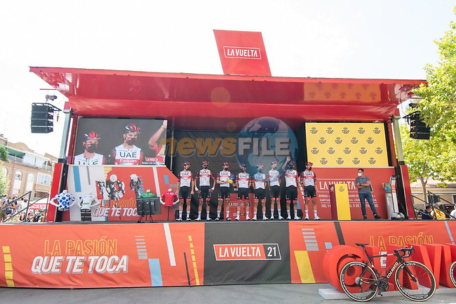 UAE Team Emirates best team after yesterday's stage at sign on before the start of Stage 6 of La Vuelta d'Espana 2021, running 158.3km from Requena to Alto de la Montaña Cullera, Spain. 19th August 2021.    <br /> Picture: Cxcling | Cyclefile<br /> <br /> All photos usage must carry mandatory copyright credit (© Cyclefile | Cxcling)