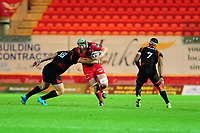 Jake Ball of Scarlets is tackled by Rossouw De Klerk of Southern Kings during the Guinness Pro14 Round 5 match between Scarlets and Isuzu Southern Kings at the Parc Y Scarlets in Llanelli, Wales, UK. Saturday 29 September 2018