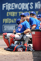 Auburn Doubledays catcher Spencer Kieboom (16) during game against the Staten Island Yankees at Richmond County Bank Ballpark at St.George on August 2, 2012 in Staten Island, NY.  Auburn defeated Staten Island 11-3.  Tomasso DeRosa/Four Seam Images