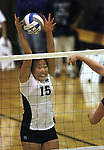 Elissa Ji blocks for Nevada against Seattle University during NCAA women's volleyball in Reno, Nev., on Thursday Oct. 20, 2011. Nevada won 3-0..Photo by Cathleen Allison