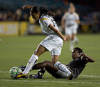 Marta (left) and Formiga (right) struggle for control of the ball. LA Sol and FC Gold Pride tied 0-0 at Buck Shaw Stadium in Santa Clara, California on July 23, 2009.