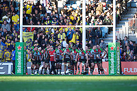 Harlequins players look dejected during the Heineken Cup Round 5 match between Harlequins and ASM Clermont Auvergne at the Twickenham Stoop on Saturday 11th January 2014 (Photo by Rob Munro)