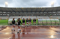 players OHL entering the field before a female soccer game before RSC Anderlecht Dames and Oud Heverlee Leuven on the seventh matchday of play off 1 of the 2020 - 2021 season of Belgian Womens Super League , saturday 15 th of May 2021  in Brussels , Belgium . PHOTO SPORTPIX.BE   SPP   STIJN AUDOOREN