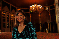 Laila Harilela, poses in the Mogal room of their Kowloon Tong residence in Hong Kong 18th October 2009. Hari is the director of the Harilela group.  The Harilela's are one of Hong Kong'sand Asia's best known and and most successful family businesses.<br /><br />Photo by Richard Jones