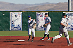 February 24, 2012:   Nevada Wolf Pack shortstop Kyle Hunt turns a double play to end the top of the 5th inning against the Utah Valley Wolverines during their NCAA baseball game played at Peccole Park on Friday afternoon in Reno, Nevada.