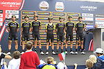 Mitchelton-Scott at sign on before the start of the 99th edition of Milan-Turin 2018, running 200km from Magenta Milan to Superga Basilica Turin, Italy. 10th October 2018.<br /> Picture: Eoin Clarke | Cyclefile<br /> <br /> <br /> All photos usage must carry mandatory copyright credit (© Cyclefile | Eoin Clarke)