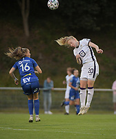 Alixe Bosteels (16) of AA Gent Ladies and Charlotte Tison (20) of Anderlecht pictured during a female soccer game between RSC Anderlecht Dames and AA Gent Ladies  on the fourth matchday of the 2021 - 2022 season of Belgian Womens Super League , friday 10 th of September 2021 in Overijse , Belgium . PHOTO SPORTPIX | DIRK VUYLSTEKE