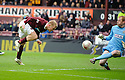 ST MIRREN'S CRAIG SAMSON SAVES AT CLOSE RANGE FROM HEARTS' ANDY DRIVER