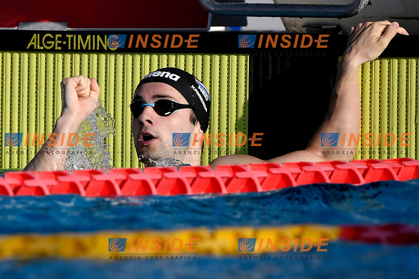 Arno Kamminga of Netherlands reacts after compete in the men 200m breaststroke during the 58th Sette Colli Trophy International Swimming Championships at Foro Italico in Rome, June 27th, 2021. Arno Kamminga placed first.<br /> Photo Andrea Staccioli / Deepbluemedia / Insidefoto
