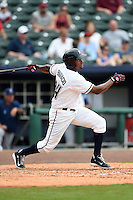 NW Arkansas Naturals outfielder Jorge Bonifacio (24) at bat during a game against the Corpus Christi Hooks on May 26, 2014 at Arvest Ballpark in Springdale, Arkansas.  NW Arkansas defeated Corpus Christi 5-3.  (Mike Janes/Four Seam Images)