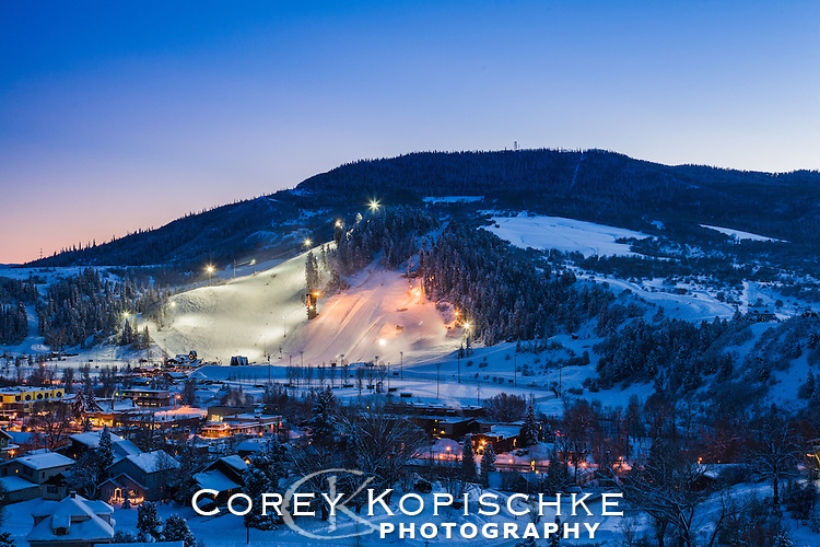 Winter lights on Howelsen Hill in downtown Steamboat Springs, Colorado.