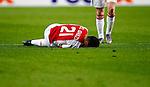 Nederland, Amsterdam, 5 november 2015<br /> Europa League<br /> Seizoen 2015-2016<br /> Ajax-Fenerbahce (0-0)<br /> Anwar El Ghazi van Ajax ligt geblesseerd op de grasmat