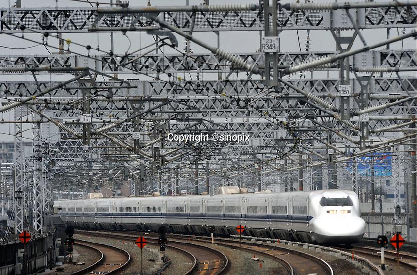 A Shinkansen train in Hamamatsu city, Shizuoka Prefecture.<br />04 Jun 2009