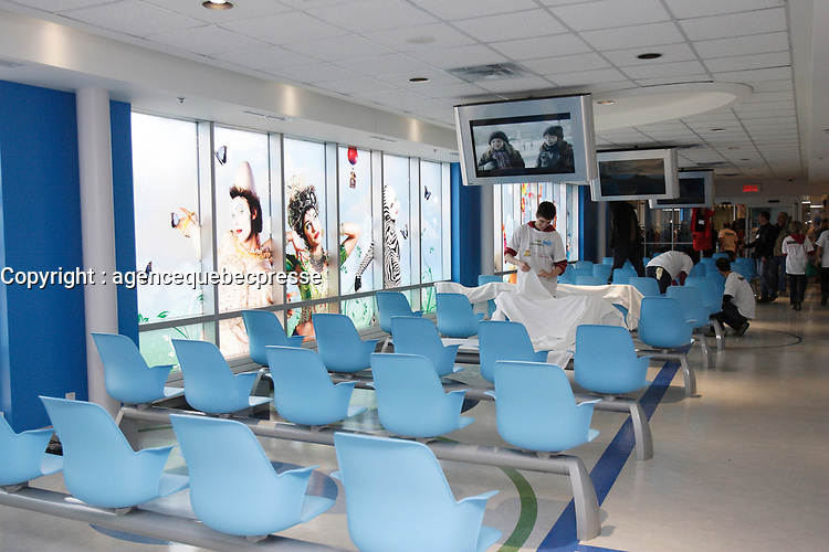 Montreal (Qc) CANADA - April 2012 File Photo - Inauguration of  Sainte-Justine children hospital new waiting room
