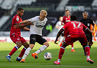12th September 2020; Pride Park, Derby, East Midlands; English Championship Football, Derby County versus Reading; Louie Sibley of Derby County with the ball at his feet holds off Andy Rinomhota of Reading