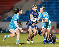 8th January 2021; AJ Bell Stadium, Salford, Lancashire, England; English Premiership Rugby, Sale Sharks versus Worcester Warriors;  Ashley Beck of Worcester Warriors is tackled by Sam Hill of Sale Sharks