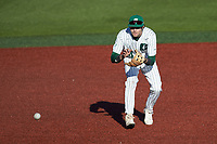 Charlotte 49ers third baseman Austin Knight (14) on defense against the Florida Atlantic Owls at Hayes Stadium on April 2, 2021 in Charlotte, North Carolina. The 49ers defeated the Owls 9-5. (Brian Westerholt/Four Seam Images)