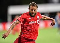 LAKE BUENA VISTA, FL - JULY 26: Nick DeLeon of Toronto FC prepares to shoot during a game between New York City FC and Toronto FC at ESPN Wide World of Sports on July 26, 2020 in Lake Buena Vista, Florida.