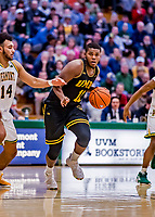 23 January 2019: UMBC Retriever Guard R.J. Eytle-Rock, a Freshman from London, England, in second half action against the University of Vermont Catamounts at Patrick Gymnasium in Burlington, Vermont. The Retrievers handed the Catamounts their first America East loss of the season 74-61. Mandatory Credit: Ed Wolfstein Photo *** RAW (NEF) Image File Available ***