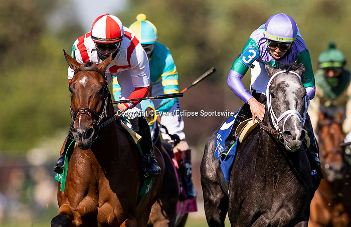 MAY 01, 2021: Domestic Spending and Flavien Prat Dead heat with Colonel Liam and Irad Ortiz in the Old Forester Turf Classic at Churchill Downs in Louisville, Kentucky on May 1, 2021. EversEclipse Sportswire/CSM