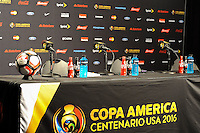 Philadelphia, PA. - June 11, 2016: Press conference Room during Copa America Centenario Group A match between United States (USA) and Paraguay (PAR) at Lincoln Financial Field.