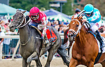 September 22, 2018 : Midnight Bisou, ridden by jockey Mike Smith, wins the Cotillion Stakes after a disqualification of Monomoy Girl on Pennsylvania Derby Day at Parx Casino and Racecourse on September 22, 2018 in Bensalem, Pennsylvania Scott Serio/Eclipse Sportswire/CSM