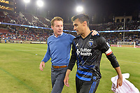 Stanford, CA - Saturday July 01, 2017: Chris Wondolowski, Chris Leitch during a Major League Soccer (MLS) match between the San Jose Earthquakes and the Los Angeles Galaxy at Stanford Stadium.