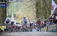 A decisive split is made up the 2nd ascent of the  Kemmelberg, as Peter Sagan (SVK/Tinkoff) pulls forward taking Fabian Cancellara (SUI/TREK-Segafredo) with him.<br /> <br /> 78th Gent - Wevelgem in Flanders Fields (1.UWT)