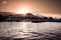 Sunset view of Lahaina Harbor off the coast of Maui.