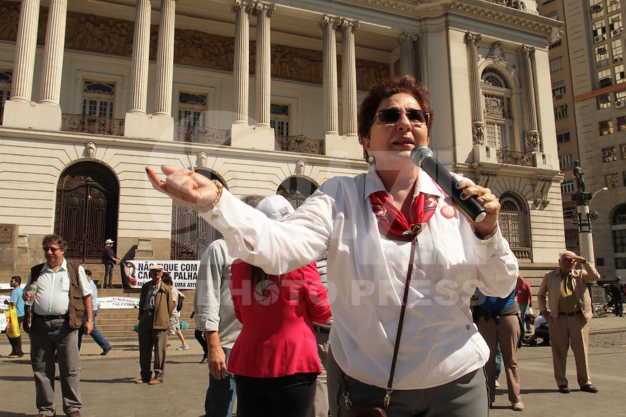 RIO DE JANEIRO, RJ,31 JULHO 2013 - MANIFESTAÇÃO CONTRA O PROGRAMA MAIS MÉDICOS PELO BRASIL - A presidente do CREMERJ Marcia Rosa de Araújo participa do  protesto contra o programa MAIS MÉDICOS PARA O BRASIL em frente câmera municipal do Rio de Janeiro na Cinelândia no centro da cidade do Rio de Janeiro nessa quarta 31. (FOTO: LEVY RIBEIRO / BRAZIL PHOTO PRESS)