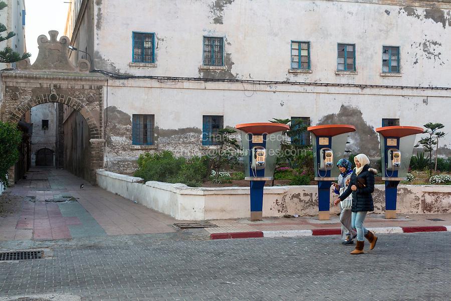 Essaouira, Morocco.  Old Public Payphones in 2016, Avenue Okba Nafia.
