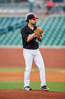 Chattanooga Lookouts starting pitcher Omar Bencomo (49) gets ready to deliver a pitch during a game against the Jackson Generals on May 9, 2018 at AT&T Field in Chattanooga, Tennessee.  Chattanooga defeated Jackson 4-2.  (Mike Janes/Four Seam Images)