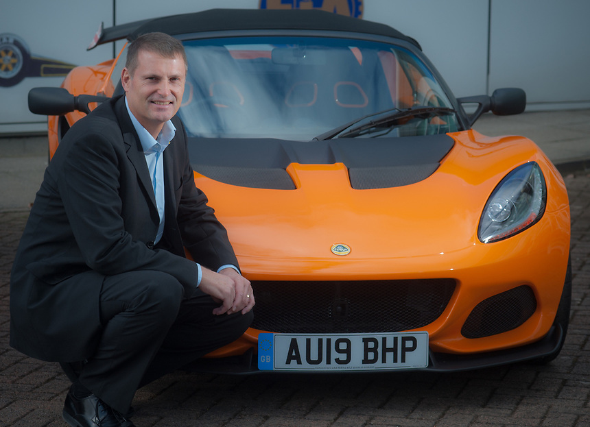 Phil Popham  chief executive officer of Lotus Cars at the company's Head Office in Hethel, Norfolk. He is seen here with a Lotus Elise.<br /> <br />  For The Financial Times <br /> <br /> https://www.ft.com/content/a889f410-467e-11e9-a965-23d669740bfb
