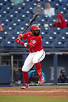 Washington Nationals Josh Harrison (5) bats during a Major League Spring Training game against the Miami Marlins on March 20, 2021 at FITTEAM Ballpark of the Palm Beaches in Palm Beach, Florida.  (Mike Janes/Four Seam Images)