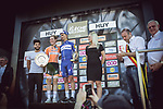 Race favourite Anna Van Der Breggen (NED) Boels Dolmans Cycling Team wins her 4th consecutive victory at La Fleche Wallonne Femmes 2018, pictured with elite mens race winner Julian Alaphilippe (FRA) Quick-Step Floors, running 118.5km from Huy to Huy, Belgium. 18/04/2018.<br /> Picture: ASO/Thomas Maheux | Cyclefile.<br /> <br /> All photos usage must carry mandatory copyright credit (© Cyclefile | ASO/Thomas Maheux)